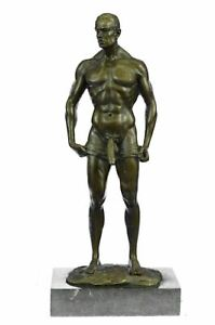 Signed Handcrafted Depict of Nude Gay Man Bronze Sculpture Marble Base Figurine $349.00