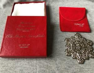 1991 Towle Sterling Old Master Snowflake Christmas Ornament with Box