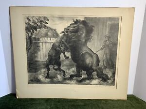 """Original John Steuart Curry AAA Lithograph """"Stallion and Jack Fighting"""" 1943 $500.00"""