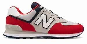 New Balance Mens 574 Shoes Red with Grey $55.79