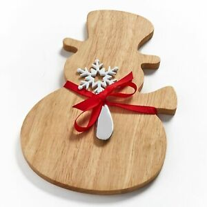 Snowman Shaped Cheese and Charcuterie Board with Snowflake Spreader