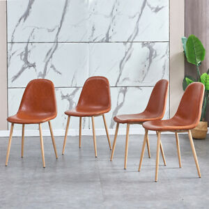 4Pcs Modern Style PU Leather Dining Chairs Furniture Living Dining Kitchen Brown