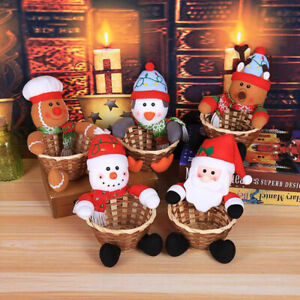 Merry Christmas Candy Storage Basket Decoration Santa Claus Basket Organizers