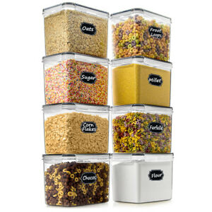 SPACE SAVER Food Storage Airtight Pantry Containers Set of 8 3.6L 121oz ...