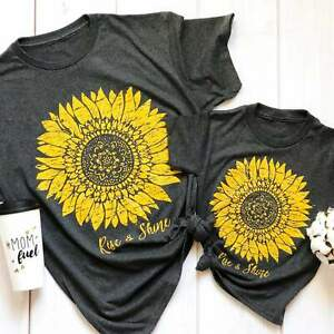 Sunflower Rise Shine Graphic Tee Womens Gift Casual Unisex Fit T Shirt $12.99
