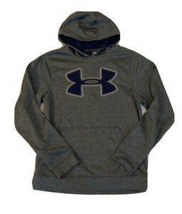 Men's Under Armour Hoodie Sweatshirt Size Small Loose Fit Gray Navy $19.95