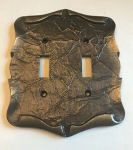 Vintage Amerock Carriage House Double Light Switch Wall Plate Cover Brass