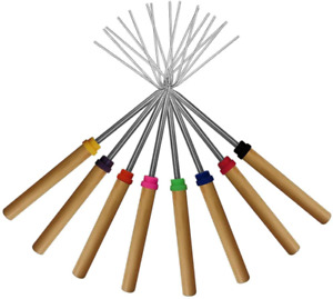 KEKU Marshmallow Roasting Sticks Set of 8 Telescoping Rotating Smores Skewers