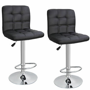 Set of 2 Modern Square PU Leather Adjustable Bar Stools with Back Swivel Stool $78.99