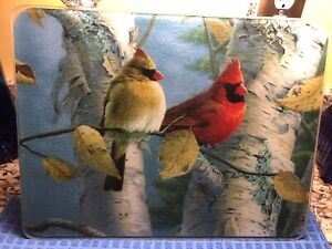 Tempered Glass Cutting Board/Serving Tray  ~ Couple Cardinals On Birch Tree VGC