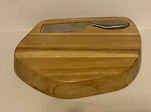 ARTISANAL KITCHEN SUPPLY BREAD / CHEESE CUTTING SERVING WOODEN BLOCK WITH KNIFE
