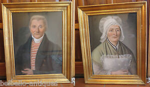 Pair Of Antique Portraits A Pastel Man Woman Husband amp; Wife Beginning #x27;800 $5825.16