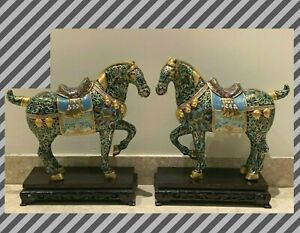 Monumental Pair of Chinese Cloisonne and Bronze Horses Sculptures on Wood Stands $2900.00