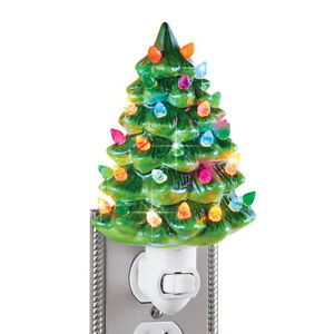 Collections Etc Ceramic Christmas Tree Night Light 6quot;H WHITE