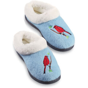 Plush Faux Fur Lined Embroidered Slippers