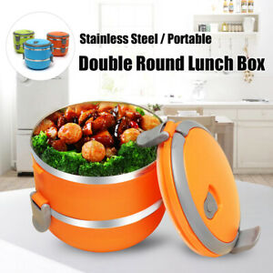 2 Layers Stainless Steel Thermal Insulated Lunch Box Bento Picnic Food Container $11.23