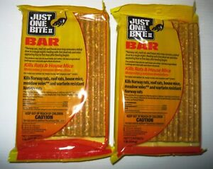 2 1 Lb Bars Just One Bite II Rodent Poison Rat Mouse Mice FREE Priority Mail