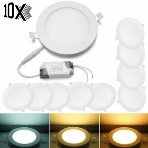 10X LED RECESSED LIGHTING PANEL CEILING DOWN LIGHT ULTRASLIM ROUND DOWNLIGHTS US
