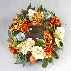 Lighted Autumn Wreath with Pumpkins Fall Orange White Flowers
