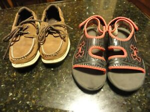 LOT Youth Boys SHOES size 2 SUMMER red Blue Under Armour sandals SPERRY slip ons $14.99