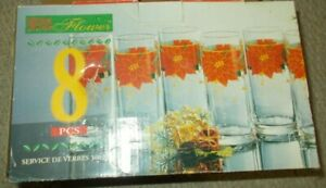 Vintage Christmas Glass Tumbler Set Flower Poinsettia Pattern New Old Stock Box