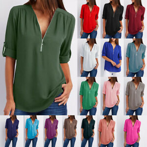 Summer Women V Neck Zipper T Shirt Loose Casual Blouse Short Sleeve Tunic Tops