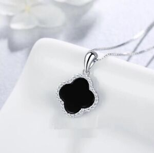Black Silver Flower Lucky Clover Pave Cubic Zirconia Pendant Chain Necklace $9.99