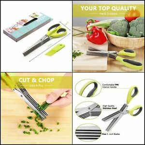 Stainless Steel Herb Scissors With Cleaning Comb 5 Blades by Kitchen Set New
