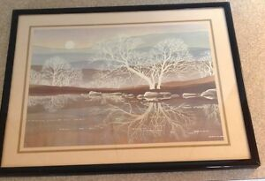 Very Nice 11quot; x 14quot; Framed Print of Winter Reflections in Earth Tones