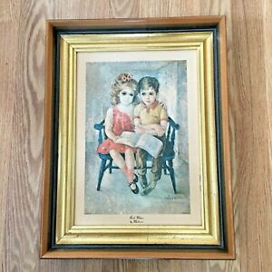 Vintage Framed Print quot;Book Mates quot; by M Medeiros Litho Arthur A Kaplan Co NYC