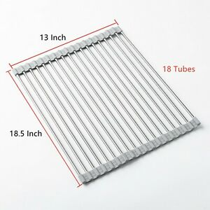 18 Tube Over the Sink Roll Up Dish Drying Rack Bottle Food Drainer Mat 18.5quot;x13quot;