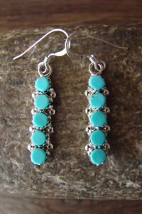 Native American Jewelry Sterling Silver Turquoise Dangle Earrings Zuni Indian $38.99