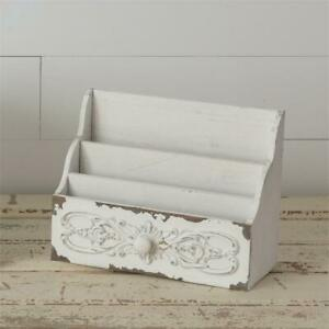 New Shabby Chic French Country White Organizer Mail Box File Letter Holder Box