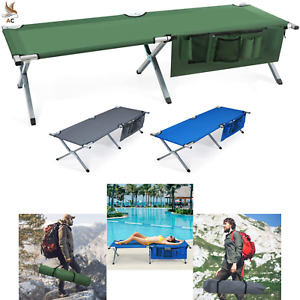 Folding Cot Camping Heavy duty Adults Kids Outdoor Bed Carry Bag Side Organizer