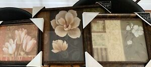 SET LOT OF 3 VINTAGE FLORAL FLOWERS HISBISCUS FRAMED ART NEW IN BOX