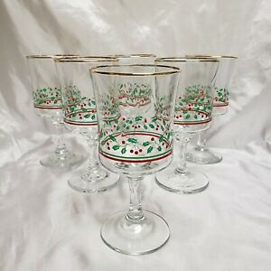 Vintage Arby#x27;s 1985 Christmas Wine Water Glass Goblet Gold Rim Holly Berry set 6