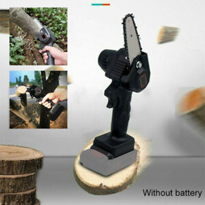 Rechargeable 4#x27;#x27; 550W 24V Mini Cordless Electric Chainsaw Wood Cutter Black Tool $48.99