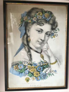 Antique Nathaniel Currier Lithograph 1870 Currier amp; Ives SPRING Print Victorian $65.00