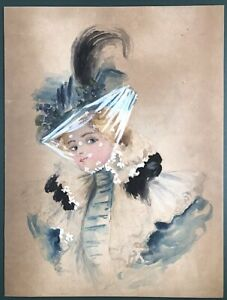 Vintage Victorian Painting quot; Fashion Lady quot; Unsigned $98.00