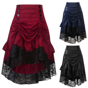 Punk Rave Victorian VTG Ruffle Bustle Skirt Women Lace SteamPunk Gothic Dresses $28.99