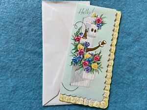 Hello and Best Wishes Vintage Unused Greeting Card