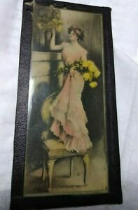 Vtg Framed amp; Unique Lithograph? Of A Lady Standing On A Chair 2 5 8quot; By 5 5 8quot; $9.39
