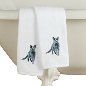 Cats Embroidered Cotton Hand Towels Set of 2 Detailed Stitch Work Grey Cat