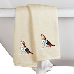 Dogs Embroidered Cotton Hand Towels Set of 2 Detailed Stitch Work