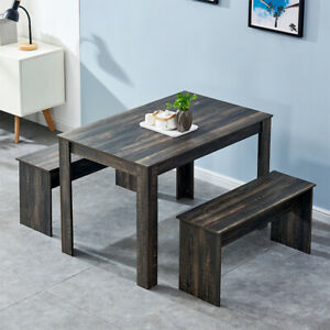 Modern Dining Sets Table and 2 Benches Chair Kitchen Furniture Dining Room NEW