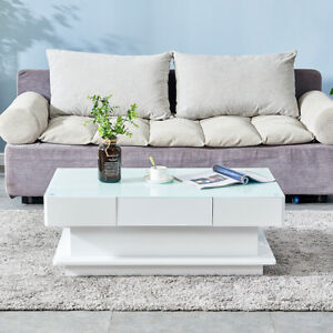 Simple Coffee End Table White High Gloss Glass Top Living Room Modern Furniture $199.99