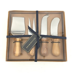 Pottery Barn 4 Pc Wood Handle Cheese Knife Set Gift New #5914 17