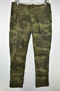 Abercrombie Fitch Cargo Camouflage Pants Military Men Size 30x30 Camo Meas 30x29