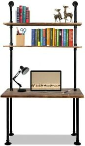 79 inch Industrial Solid WoodDeskWith Wall Pipe Design And Shelves