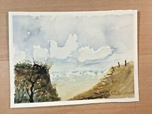 "ORIGINAL WATERCOLOR 5""x7"" SEASCAPE SAND DUNE BY: CHARLES ANDERSON $4.50"